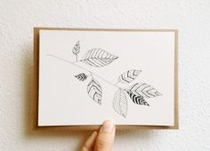 Hand Drawn Card with Botanical Illustration in by mipluseddesign, $14.00