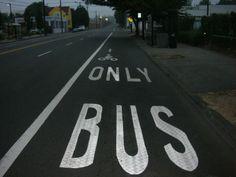 BICYCLE-BUS LANE: Portland, Oregon. Portland Oregon, Bicycle, Symbols, Street, Bike, Bicycle Kick, Bicycles, Walkway, Glyphs