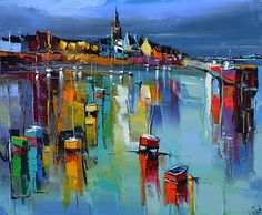 French Art Network | Lepape, Eric - NUIT D'ORANGE SUR ROSCOFF - (23 5/8 x 28 3/4 inches) - oil on linen painting.
