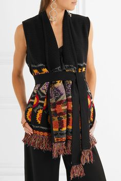 ETRO sleek Belted fringed wool-blend gilet