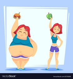 Young woman with apple and fast food before and vector image on VectorStock Fat To Fit, Lose Fat, Lose Belly Fat, Fitness Backgrounds, Funny Cartoon Characters, Health Images, Background Powerpoint, Young Women, Powerful Images