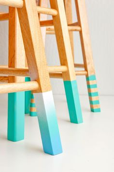 4a13a6162d Bring a pop of color to wooden stools with an easy color-dipped DIY project