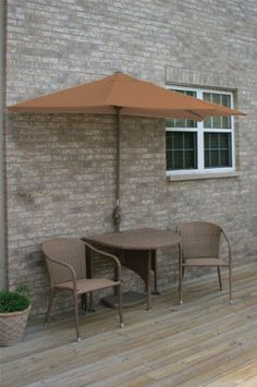 5-pc Patio Furniture Set by Gordon Companies, Inc. $1726.50. Brand Name: Gordon Companies, Inc Mfg#: 30662027. This product may be prohibited inbound shipment to your destination.. Please refer to SKU# ATR25758210 when you inquire.. Picture may wrongfully represent. Please read title and description thoroughly.. Shipping Weight: 103.00 lbs. 5-pc Patio Furniture Set/(1)36'' table/(2)stacking chairs/(2pc)7.5' half-umbrella/cast iron umbrella base/Color:coffee/Table...