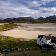 Uig Bay seen from the hill above Bailey na Cille, the pretty inn, during low tide when you can walk clear across to the dunes on the other side. On the Isle of Lewis in Scotland. @natgeo @natgeotravel #scotland #islandobsession