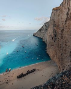"""In a shipping vessel known as the Panagiotis crashed on the scenic shores of Navagio Beach, purportedly attempting to smuggle illegal contraband — from then on, it has also been called """"Shipw… War Photography, Types Of Photography, Landscape Photography, Destination Voyage, Destinations, Travel Goals, Beach Photos, Wonderful Places, Beautiful Landscapes"""