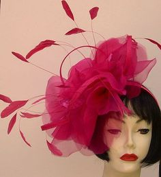 Hot Pink Large Rose Fascinator ...perfect for the Kentucky Derby Oaks Race!  By HAT-A-TUDE.COM
