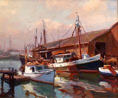 "Pocock Fine Art & Antiques - Emile A. Gruppé ""Morning Gloucester"""