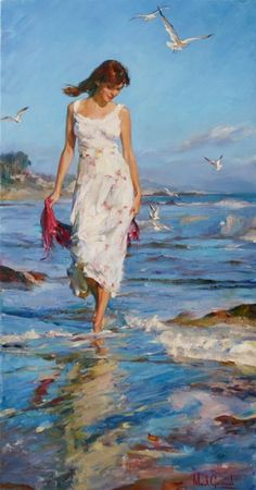 Garmash, Michael (b,1969) & Inessa - Woman Walking in Surf, Ib