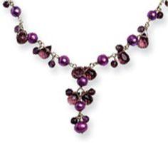 Sterling Silver Freshwater Cultured  Purple Pearl, Purple Quartz