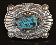 Sterling Silver, Blue Diamond Turquoise Belt Buckle by famous Navajo silversmith Derrick Gordon | eBay