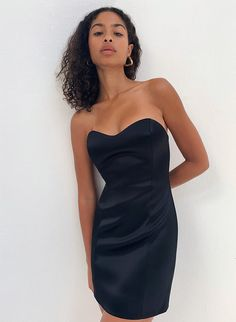 High Street Fashion, Jacket Dress, Dress Skirt, Casual Dresses, Short Dresses, Satin Mini Dress, Black Strapless Dress, Princess Seam, Cute Outfits