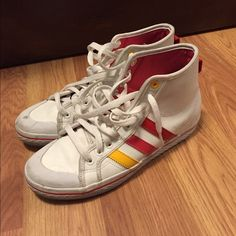 Hi top sneaker Very cool Adidas sneakers. Have some dirt/staining, hence the low price. Adidas Shoes Sneakers