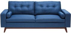 Midcentury Modern Loveseat with Bolster Cushions in Blue Colour by Afydecor