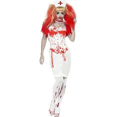 Halloween Blood Drip Nurse With Blood Stockings (£30) ❤ liked on Polyvore featuring costumes, white nurse costume, fancy costumes, nurse halloween costume, white halloween costumes and party costumes