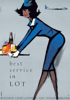 LOT (Polski Linie Lotnicze/Polish Airlines) vintage travel poster by Janusz Grabianski, 1966