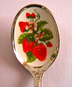 This was an Avon offering back in the I have used it as a jam spoon with my mother's strawberry jam jar. Strawberry Kitchen, Strawberry Tea, Strawberry Fields Forever, Vintage Avon, Strawberry Shortcake, My New Room, Tea Party, Tea Cups, Cottage