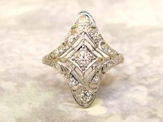 Platinum Edwardian Engagement Ring Old Mine Cut Diamond Filigree Ring 0.43ctw Diamond Wedding Ring 1910s Antique Engagement Ring Size 4 Ring