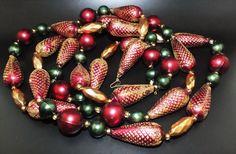 Gablonzer Christbaumschmuck - Weihnachtsbaumkette 180cm - Rot Grün Gold