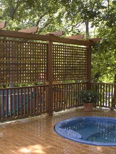 looks like our deck minus the hot tub - Above Ground Pool Privacy Deck