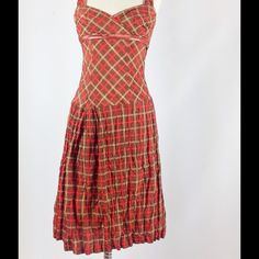 """FINAL PRICE PLAIDS PLUNGE EMPIRE WAIST midi-dress FLATTERING and ultra feminine dress made in PARIS BY ANNE ELISABETH, an iconic French fashion designer. RARE, VINTAGE LOOKING. COUTURE. Measurements correspond to a size 4 or 2 if your have an important torso, and are, one way, item lying flat: 14"""" bust, 13"""" under bust, and waist; 43"""" long, 18"""" hips. Brand new, no tags. Composition is viscose, cotton, and silk, oh my!! Happy bundle! Anthropologie Dresses Midi"""