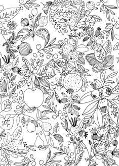 Ryn Frank is a freelance illustrator, specialising in hand drawn illustrations. Illustration Blume, Pattern Illustration, Pattern Paper, Pattern Art, Colouring Pages, Coloring Books, Botanical Drawings, Pretty Patterns, Graphic Patterns