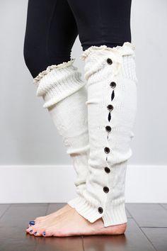 e659a53f2ec Women s Extra Long Leg Warmers Ivory by Boutique Socks  boutiquesocks   legwarmers  buttonuplegwarmers