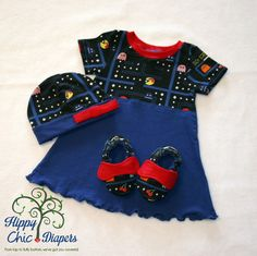 PacMan Inspired Baby Dress Set 3 to 6 months by HippyChicDiapers on Etsy https://www.etsy.com/listing/231262276/pacman-inspired-baby-dress-set-3-to-6