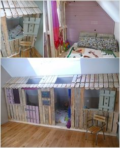 10 Pallet Projects That Are Nothing But Pure Fun 8 Playroom Flooring, Pure Fun, Fence Art, Interior Design Photos, Secret Rooms, Couch Furniture, Little Girl Rooms, Pallet Projects, Small Spaces