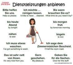 Dienstleistungen anbieten = Asking for services Learn German, Learn French, Learn English, German Grammar, German Words, Teaching French, Teaching Spanish, Spanish Activities, German Resources