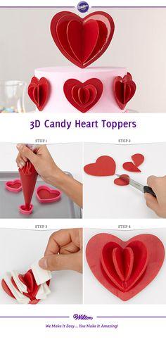 DIY 3D Candy Melt Heart Toppers