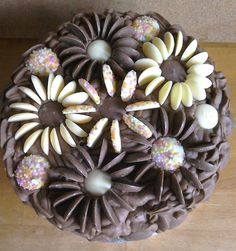 Chocolate Button Cake, Chocolate Buttons, Cake Decorating Tips, Cupcake Ideas, Birthday Cakes, Pudding, Decoration, Floral, Desserts