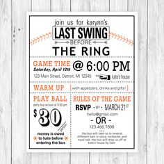 Fun and clever wording ties this baseball themed bachelorette party invitation together!