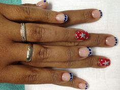 Fun 4th of July patriotic gel nails with blue dotted French.