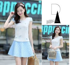 Graceful Princess Azure Puff Sleeve With Short Skirt