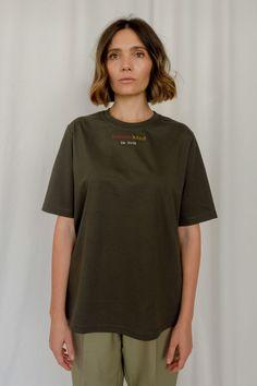 dark olive T-shirt – Adrian Vele Street Look, Female Models, Designers, Tunic Tops, Dark, Cotton, T Shirt, Accessories, Clothes