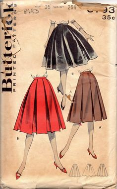 Butterick 8793 1950s Misses Trapeze SKIRT Pattern  Inverted Pleats Box pleats Full skirt womens vintage rockabilly sewing pattern mbchills