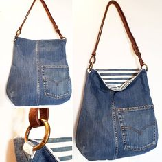 Billedresultat for recycle jeans Upcycled denim jeans bag - pinning for inspiration - item is/was for sale. Dimensions - height diameter of the bottom - shopping bags from old jeans pic for inspiration purpose only, links to site to purchase from maker 71 Denim Tote Bags, Denim Handbags, Denim Purse, Denim Jean Purses, Hobo Handbags, Jeans Recycling, Reuse Jeans, Diy Sac, Denim Crafts