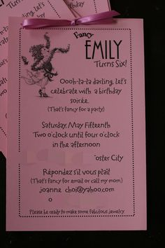 """fancy nancy party, includes info on FN font (fancy nancy Font...On the cover of her books, the word """"fancy"""" is done in fontesque, the word """"Nancy"""" done in Plaza)"""