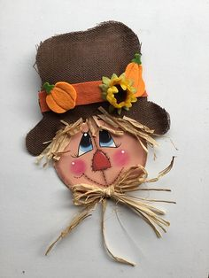 Scarecrow decor~Scarecrow wreath accent~Scarecrow for wreaths~ Wreath sign~Fall Scarecrow~Fall sign~Sign for Wreaths~Scarecrow sign. Scarecrow Face Paint, Wood Scarecrow, Scarecrow Crafts, Scarecrow Wreath, Fall Scarecrows, Halloween Wood Crafts, Fall Halloween, Holiday Crafts, Sign Sign