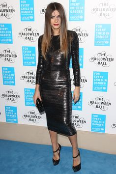 Glamorously scary Elisa Sednaoui wears an Ermanno Scervino FW 2015-16 sheath knit dress embroidered with sequins attending the Unicef UK Halloween Ball in London #ScervinoCelebs #ErmannoScervino #ElisaSednaoui