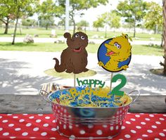 Big Bird And Snuffy Centerpiece Stick With Childs Age and Happy Birthday    I make them out of cardstock Paper then I put them on a wood stick.
