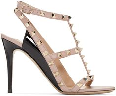 VALENTINO Pink & Black Rockstud Cage Sandals. #valentino #shoes #sandals