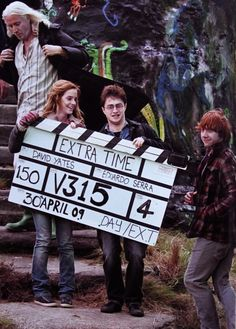 Emma Watson (Hermoine), Daniel Radcliffe (Harry) and Rupert Grint (Ron) on set of Harry Potter.