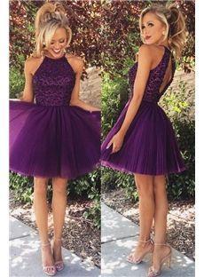 chic et manches summer purple halter célèbre robe robe de naturelles modernes