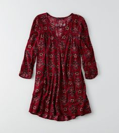 AEO Keyhole Swing Dress, Red   American Eagle Outfitters