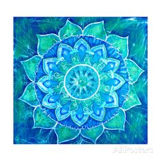 Abstract Blue Painted Picture with Circle Pattern, Mandala of Vishuddha Chakra アートプリント