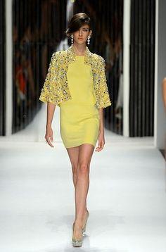 yellow mini dress and crystal-encrusted jacket: Jenny Packham