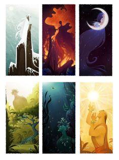 6 Hawaiian gods: Pele, Poliahu, Kane, Kanaloa, Hina, and Ku.