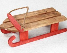 Wooden Sled Country Christmas Wooden Sled by WoodCreekBoutique