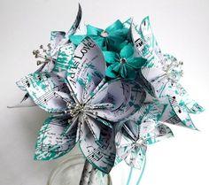 Pretty Beatles sheet music teal flower bridal bouquet with gem burst accents—unique idea/look❣ Danaspaperflowers - ArtFire